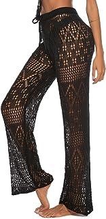679d6128d580a Julier Womens Cover Up Pants Sexy Hollow Out Crochet High Waist Mesh Beach  Bikini Swimsuits Pants