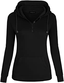 Women's Pullover Long Sleeve V Neck Hoodies Coat Loose Casual Sweatshirts with Pockets