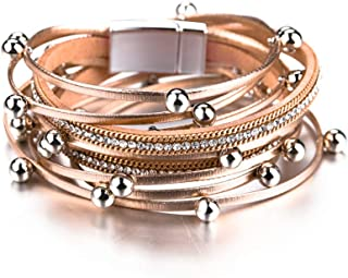 Women Multi-Layer Leather Wrap Bracelet Handmade Wristband Braided Rope Cuff Bangle with Magnetic Buckle Jewelry