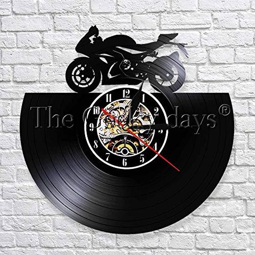 wtnhz LED-Motocicleta 3D Reloj de Pared Motocicleta Deportes Carrera Velocidad Rider Disco de Vinilo Reloj de Pared Reloj de Tiempo Regalo para fanáticos de la Motocicleta