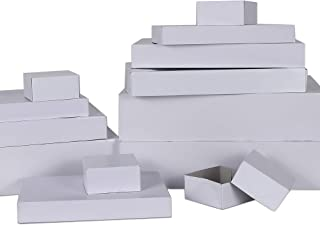 MOMONI Premium 13 Piece White Gift Boxes with Lids of Assorted Sizes with 4 inch Deep Robe Boxes- Wrapping Boxes Set Chris...