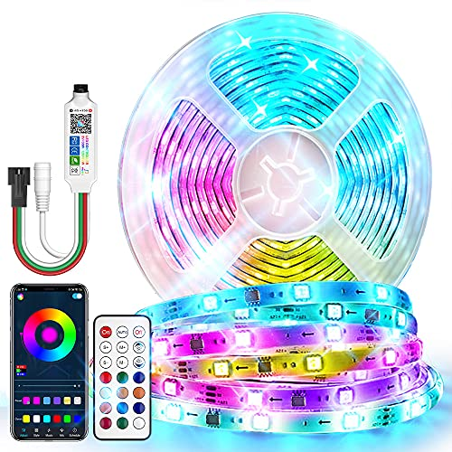 CBAOOO Dreamcolor LED Strip Lights Smart IC Chip RGB, 213 Mode Effects App Control Bluetooth with Segmented Color Control, Rainbow LED Lights Music Sync for Bedroom, Kitchen, Christmas Decor (16.4FT)