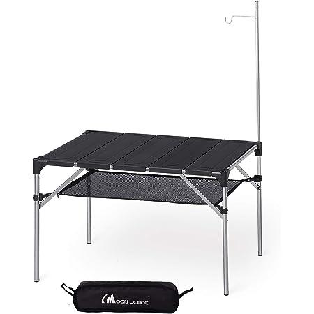 Moon Lence キャンプ テーブル アルミ ロールテーブル ランタンハンガー付き アウトドア ハイキング BBQ 折りたたみ式 コンパクト 超軽量