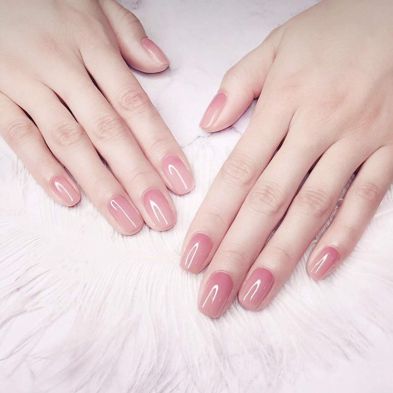 肉腫バスラップ24枚純色付け爪 ネイル貼るだけネイルチップ お花嫁付け爪 さくら カラーグラデーション フラットヘッド 平頭爪チップ