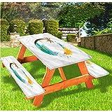LEWIS FRANKLIN - Cortina de ducha para playa de lujo de picnic, mantel de verano con borde elástico de Tropic Paradise, 70 x 72 pulgadas, juego de 3 piezas para mesa plegable
