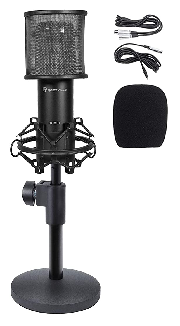 Rockville RCM01 PC Gaming Twitch Stream Microphone Game Mic+Weighted Desk Stand stgpbgew34546