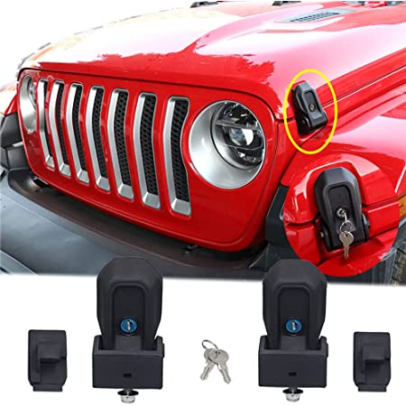 YOCTM Anti-thief Locking Hood Look Catch Latches Kit Fits For Jeep Wrangler JL 2018 2019 2020 Gladiator JT 2020 2021 Accessories