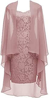 Dannifore Women's 2 Pieces Lace Mother of The Bride Dress with Jacket Chiffon Formal Evening Dresses