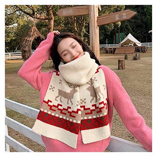 ZHIHUI Poncho Donne Inverno Sciarpa Donne Knit Sciarpa Renna Uomini Caldo di Spessore di Natale dello Inverno Scialle Lunghe più Colori Ultra Leggera (Color : White)