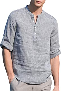 SySea Mens Casual V Neck Cotton Linen 3/4 Sleeve Hippie Shirts Banded Collar Henley Tops with Buttons