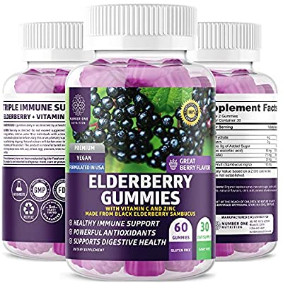 N1N Premium Elderberry Gummies for Kids & Adults [Max Strength with Vitamin C & Zinc] All Natural Antioxidant Supplement to Support Immune Health and Increase Energy Levels, 60 Gummies