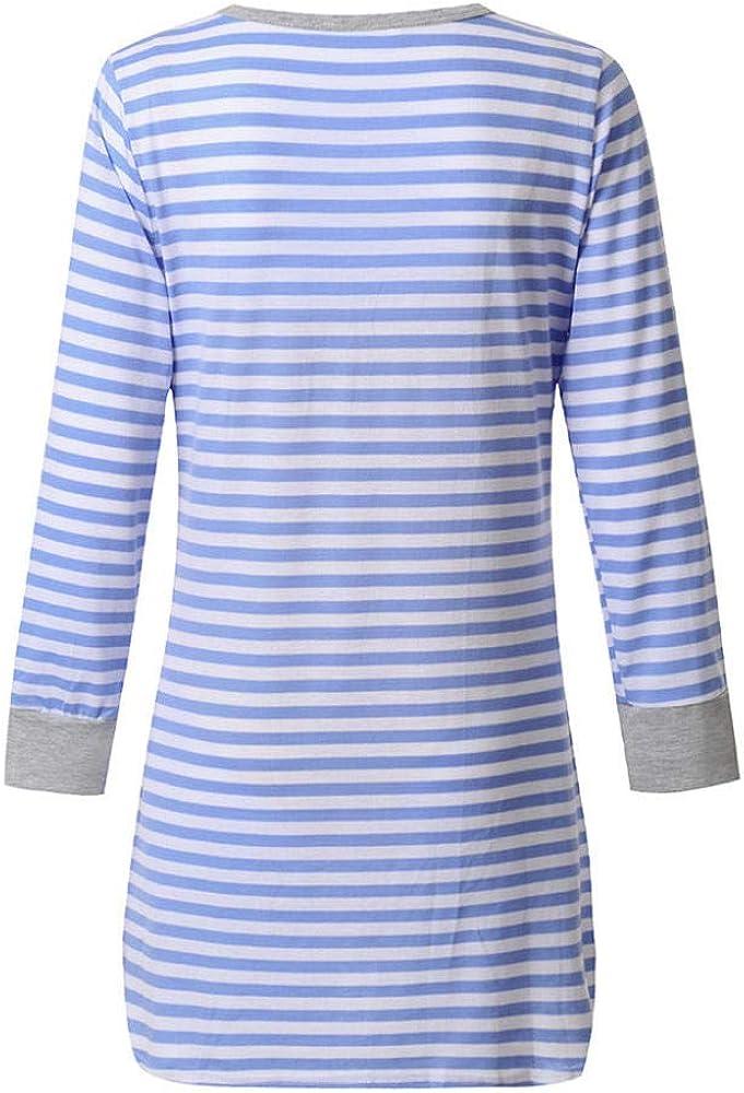 Rayures Pyjama Chaud Robe dallaitement Maternit/é V/êtements De Nuit Liuyang Maternit/é Chemise De Nuit Nuisette dallaitement /À Manches Longues pour Femmes