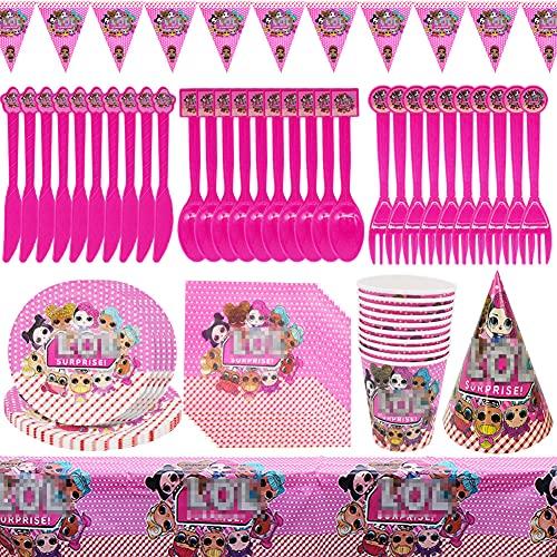 Vajilla de cumpleaños de niños,CYSJ Juego de 78pcs para Fiestas de muñecas Sorpresa LOL,Juego de Suministros para Fiestas de cumpleaños,se Aplica a Fiestas de cumpleaños de niños,Decoraciones de Mesa