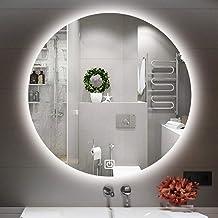 Spiegel 50/60/70 cm led-badkamerspiegellamp, led-badkamerspiegel met ronde achtergrondverlichting en touch-schakelaar, woo...