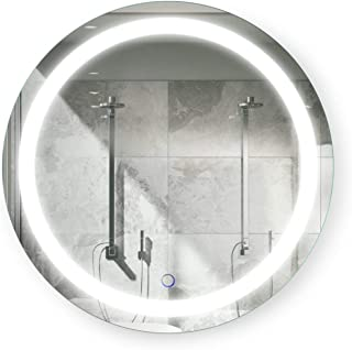 Riya Round 18 Inch LED Bathroom Mirror | Lighted Vanity Mirror with Touch Switch