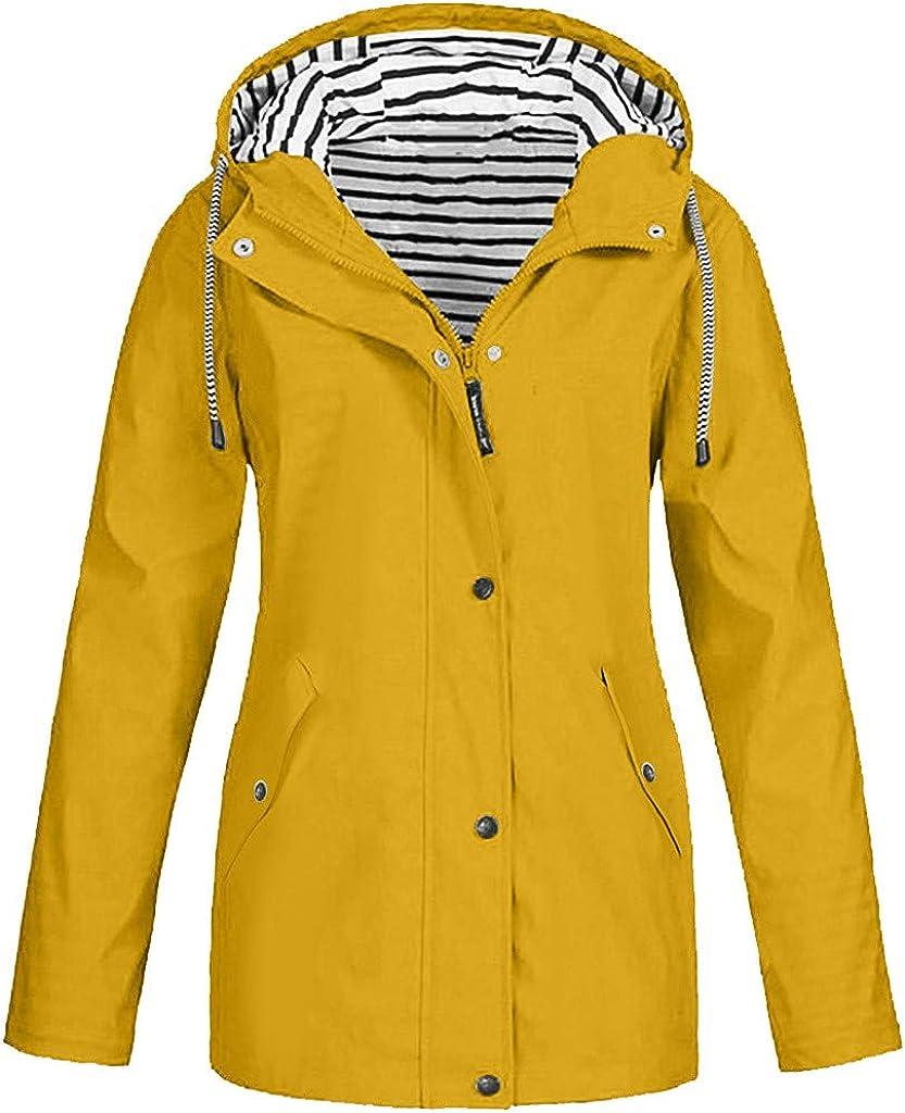 Tantisy Women Jacket Water-Resistant Windbreaker Outdoor Pure Color Retro Plus Size Overcoat Thermal Hooded Raincoat