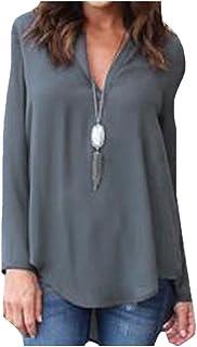 Howme-Women ummer Essential Baggy Chiffon Long-Sleeve SPullover
