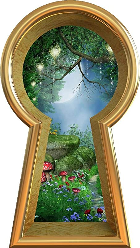 12 Keyhole 3D Window Wall Decal Enchanted Lantern Forest Alice In Wonderland Kids Room Decor Fantasy Mushroom Fairy Tale Removable Vinyl Wall Sticker 12 Tall X 6 8 Wide