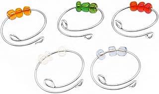 5 قطع خواتم تفاعل ملونة للقلق للنساء - حلقة دوارة مع خرز قابل للتعديل لفائف واحدة حلزونية ، خرز يدور بحرية مجوهرات
