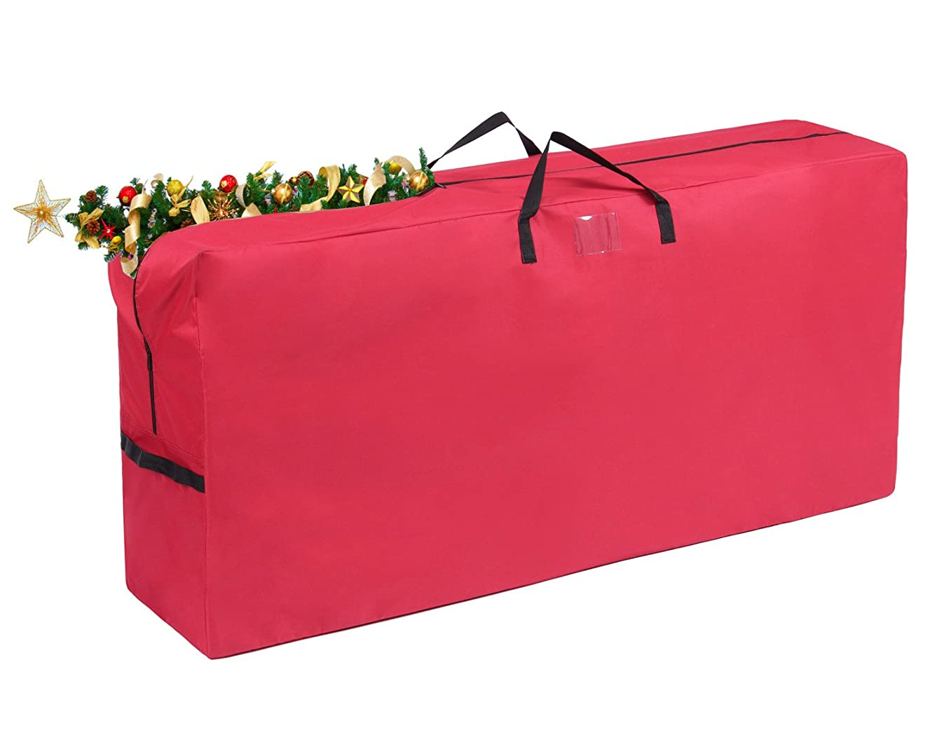 Vencer Heavy Duty 600D Oxford Christmas Tree Storage Bag Fit Upto 9 Foot Artificial Tree Holiday Red Extra Large Dimensions 65