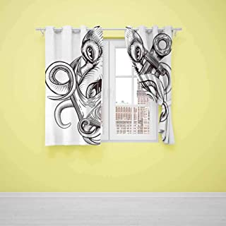 Xlcsomf Bedroom Curtain Anchor (2 planels,W31.5 x L72) Indoor Curtain Monochrome Octopus Tattoo Art Style Naval Sketch Mythical Kraken Beast Design Brown and White