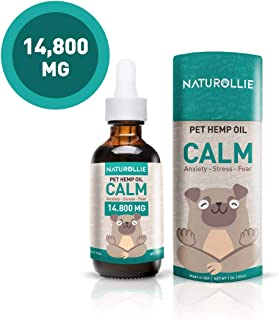 Naturollie 14.800 MG Organic Hemp Oil for Dogs - Dog Anxiety Relief - Support Pet Immune System, Hip & Joint Pain and Stress, Calming Treats, Hemp Drops for Natural Relief for Pain, 3rd Party Tested