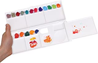 Transon Aritst Paint Palette Box 26 Wells for Watercolor, Gouache, Acrylic and Oil Paint with 1 Paint Brush