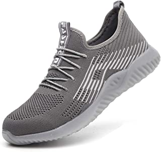 Steel Toe Shoes Men, Work Safety Shoes Lightweight Comfortable Industrial & Construction Sneakers Breathable Mesh Slip Resistant Composite Toe Shoes