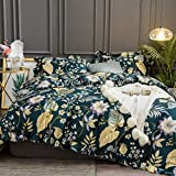 Softta 3pcs Duvet Cover King Bedding Set Ruffle Floral Teal Tropical Plam Leaves Flower Quilt Cover Vintage and Farmhouse 100% Egyptian Cotton 800 TC Purple Yellow Colorful Hidden Zipper Closure