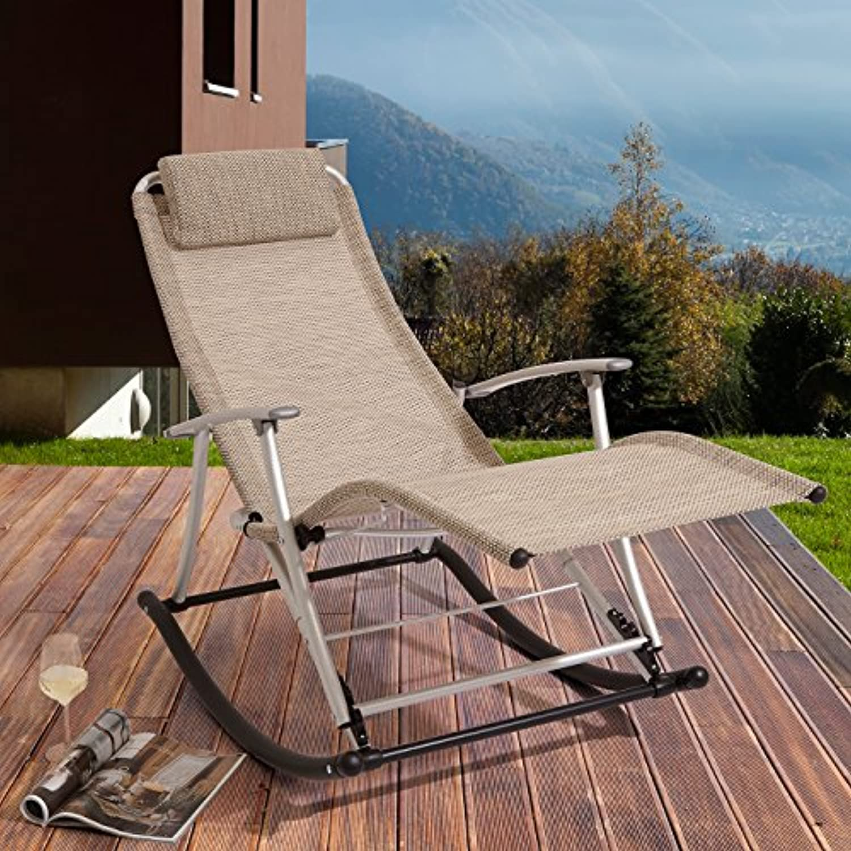 Rockcamp Garten-   Freizeitstuhl aus Alu-Textilene, Schaukelstuhl, faltbar, Beige