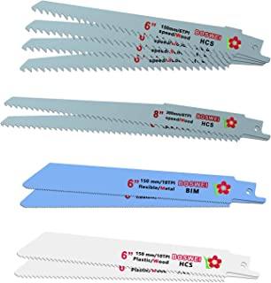 flintronic Reciprozaagblad, 10 stuks (150 mm, 230 mm lengte; 6/10/18 TPI) zaagbladen set voor metaal, hout, compatibel met...