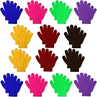 14 Pairs Kids Warm Magic Gloves ,Teens Winter Stretchy Knit Gloves Boys Girls Knit Gloves