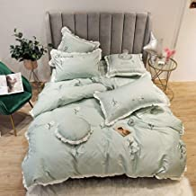 Pastoral Style Small Fresh Green Floral Embroidered White Lace Satin Long-staple Cotton Material Seven Sets Of Bedding Bed...
