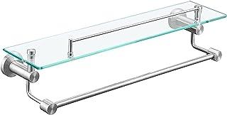 Shower Shelves Bathroom Glass Shelf Towel Rail Wall Mounted Glass Bathroom Shelf 8MM Extra-Thick Tempered Glass with Stain...