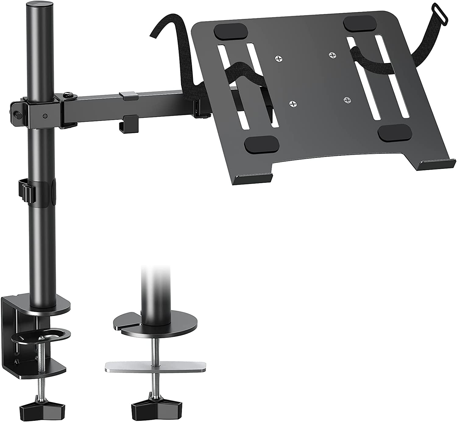 MOUNTUP Single Laptop Mount with Tray, Notebook Arm Stand Desk Mount, C Clamp and Mounting Grommet Base, VESA 75x75/100x100, Height Adjustable for Laptop up to 17 inch