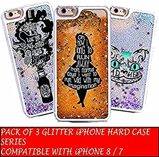 DECO FAIRY Compatible with iPhone 8 / 7, Cartoon Anime Animated Gold Blue Glitter Alice in wonderland mad hatter cheshire cat drink me bottle series PVC Hard Cover Case - Set of Three