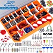 PLUSINNO Fishing Accessories Kit, 263pcs Fishing Tackle Kit with Tackle Box Including Fishing Weights Sinkers, Jig Hooks, Beads, Swivel Snap, Bobbers Float, Saltwater Freshwater Fishing Gear