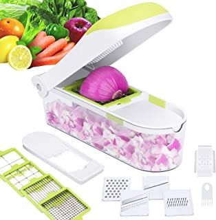 E-Gtong Vegetable Chopper and Food Slicer, Vegetable Slicer with 9 Interchangeable Blades, Potato Onion Chopper and Cutter for Vegetable and Fruit with Big Container, Cleaner and Hand Protector