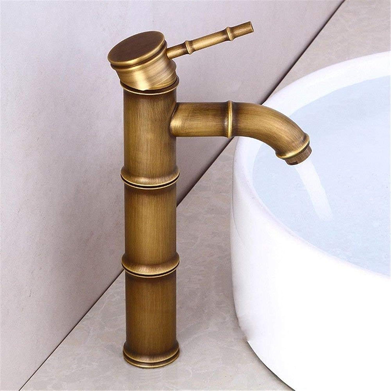 DOJOF Bathroom Sink Mixer Tap Brass Antique Retro Hot and Cold Water Taps for Bathroom Sink