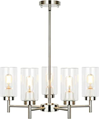 Derksic 5-Light Chandelier Modern Chandelier with Clear Glass Shades Contemporary Chandeliers Lighting Fixtures for Dining Ro