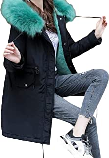 Women Hooded Zipper Warm Winter Coats Long Sleeve Knee Length Overcoats Outwear Tops