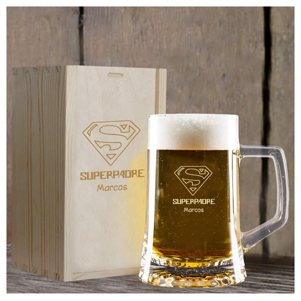 Calledelregalo Regalo Personalizado para Padres: Jarra de Cerveza Superpadre grabada con su Nombre en Estuche de Madera también Grabado: Amazon.es: Hogar