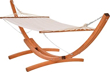 Outsunny Wide Outdoor Arch Wooden Hammock Bed with Stand Featuring Modern Design Aesthetic & Water-Fighting Material, Whi