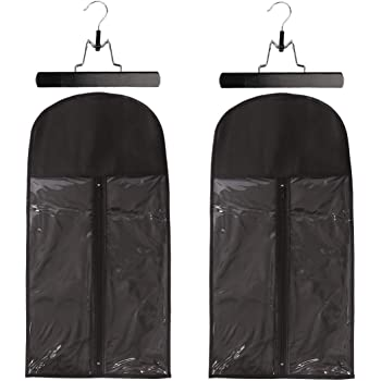 2 Pack Hair Extension Storage Bag Hair Extension Hanger Strong Holder Dust-proof Portable Suit with Transparent Zip Up Closure- Lightweight, Waterproof and Portable (Black)