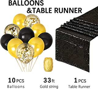 QueenDream Sequin Table Runners 12in by 108 Black Runners for Party Ceremony Decor Choose Colors