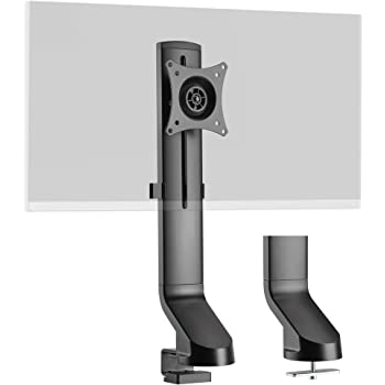 """AVLT Single 17.6 lbs Monitor Mount for Standing Desk Converter - Low-Profile Base Compatible with Sit-Stand Workstation Thin Tabletops Height Adjustable VESA Adapter for 17"""" to 32"""" Screen"""