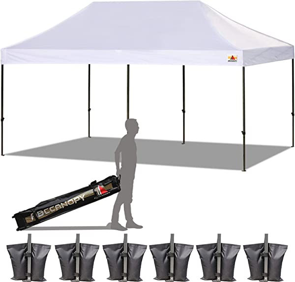 ABCCANOPY 18 Colors 10x20 Pop Up Tent Instant Canopy Commercial Outdoor Canopy Wheeled Carry Bag Bonus 6X Weight Bag White