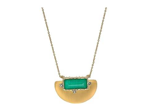 Alexis Bittar Stone Studded Retro Half Moon Small Pendant Necklace