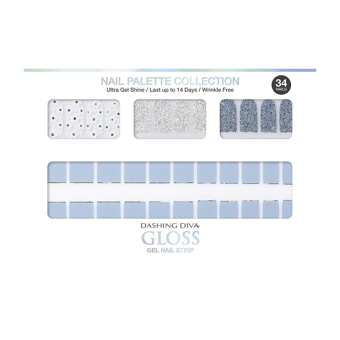 雪だるまを作る受信ステープルダッシングディバ グロスジェル ネイルストリップ DASHING DIVA Gloss Gel Nail Strip DGNP10-DURY+ オリジナルジェル ネイルシール Ice #10 Soda Flower