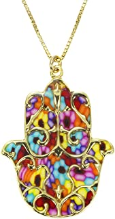 Gold Plated Silver Hamsa Necklace Fleur de Lis Pendant Handmade Polymer Clay, 16.5